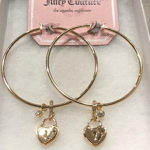 NWT•Juicy Couture Gold hoops w/logo heart dangles